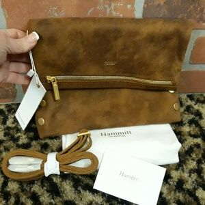 HAMMITT VIP Gold Cognac Clutch Crossbody NEW PURSE